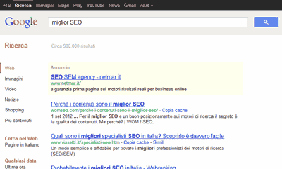 Il precedente design della SERP Google