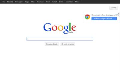 L'interfaccia di Google nel 2012