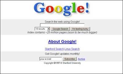 Il layout della SERP Google Search nel 1997